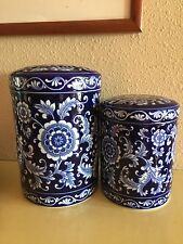 Pier One Mandarin Blue Floral Porcelain Storage Jar and Lid VGUC