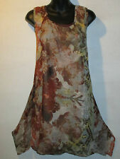 Top 2X Plus Long Tunic Tank Brown Water Color Shark Bite A Shaped Layered 72X