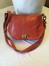 Fossil purse orange leather maddox messenger/hobo gold hardware &  original key