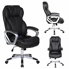 PU Leather Executive Office Chair Tilt Nylon Swivel High Back Computer Desk Task