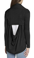 "$158 BCBG BLACK ""JAZMEN"" DRAPED COWL BACK CARDIGAN SWEATER TOP NWT M/L"