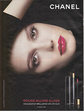 CHANEL ROUGE ALLURE GLOSS - PUBLICITE PRESSE - PAPER ADVERT - COUPURE MAGAZINE