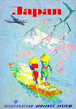 Japan Mount Fuji Asia Japanese Geisha Vintage Travel Advertisement Art Poster