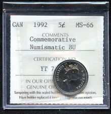 1992 Canada 5 Cent (Commemorative) Coin ICCS Graded MS66 # YT 736