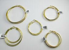 New 14k Karat Gold Plated Set of 5 Gold Hoop Earrings Exclusive Offer!!