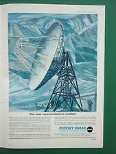 9/1966 PUB PLESSEY RADAR ELECTRONICS SATELLITE COMMUNICATION NETWORK ANTENNE AD