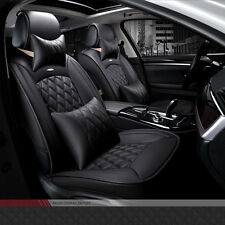 Full Seat PU Leather Winter Warm Car Seat Cover Set Cushion Black Pillow Luxury