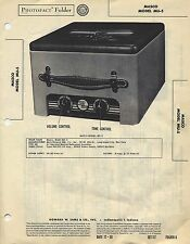 1950 MASCO PHOTOFACT MU-5 Tube Amplifier Service Manual Schematic Diagram Repair