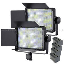 2x LECO500 Film Interview Video Lighting LED Panel + 4x NP-F750 Batteries