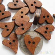100 PCS 20Mm Heart Shape Brown Wood Wooden Sewing Button Craft Scrapbooking B8BU