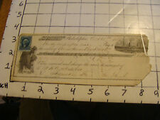 Vintage Original 1866 Philadelphia Bank Check w BOAT VIGNETTE AND LADY