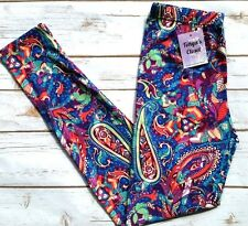 PLUS Size Paisley Leggings Bright Abstract Whimsical Paisley Printed Curvy Plus