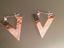 Sterling Silver Hammered Earrings with Lever back- FREE SHIPPING