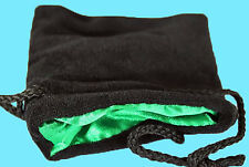 BLACK VELVET & LUXURY SATIN GREEN Lining DICE BAG SMALL 3.5x4 Silk Pouch Koplow