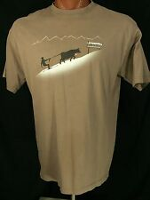 Skicow Swiss Innovating Alpine Technology Brown Graphic Tee 100% Cotton XL