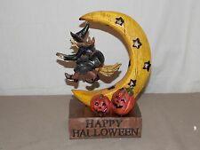 NEW HAPPY HALLOWEEN WITCH ON BROOM FLYING OVER LED COLOR CHANGING LIGHT MOON