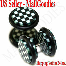 1265 Fake Cheater Illusion Faux Ear Plugs Checkered Print Parttern 00G 10mm