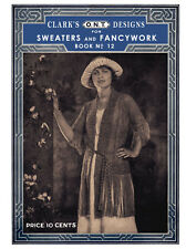 Clark's ONT #12 c.1921 Vintage Filet Crochet Patterns for Sweaters and Fancywork