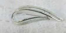 Vintage Sarah Coventry Silver Swoosh Leaf Comet Fish Brooch / Pin / Bridal