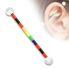 Rainbow Color Printed On Surgical Steel Industrial barbell, Cartilage Piercing