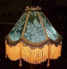 OSBORNE A VICTORIAN DOWNTON BEADED LAMPSHADE. DUCK EGG  BLUE GREEN  BROCADE 12""