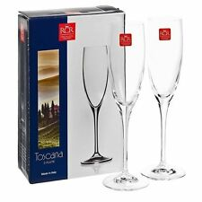 RCR Toscana Set of 2 Crystal Champagne Flutes Wine Glasses