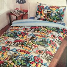 Boys Children Printed Comic Book Collection Superhero Single Duvet Cover Set