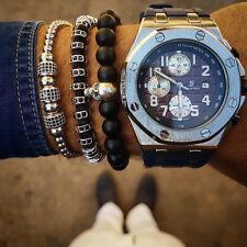 Unisex New Style Anil Arjandas Macrame Bracelet 18k White Gold Pave Ball Slider