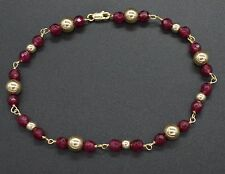 """#BN162 NEW 14K Solid Yellow Gold and Natural Ruby Round Bead Bracelet 8"""""""