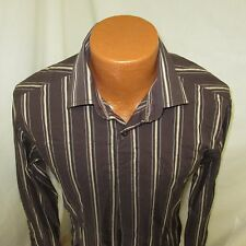 (Medium) Men's Guess Brown Striped Long Sleeve Shirt
