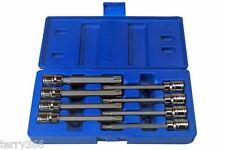 "BERGEN 8pc 110mm Long 3/8"" Dr T/PROOF Star Bit Torx Socket Tool Set T25-T60 1173"