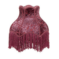 Victorian Fringed Velvet Burnout Panel Lamp Shade Rose GWTW Glass Beads UNO