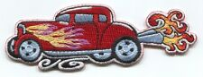 CLASSIC CAR red/exhaust flames EMBROIDERED IRON-ON PATCH **FREE SHIPPING** p3736