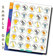 SAFARI ANIMALS personalized stickers birthday party baby shower favor tags
