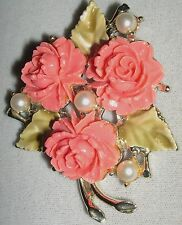 Three Roses Glass or Hard Plastic Faux Pearls Pin Brooch Old Vintage