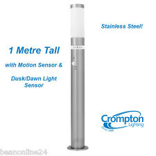 Crompton LED Stainless Steel Garden Bollard Light 1 Metre - Motion Sensor & Dusk