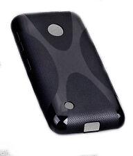 X-Rubber Silikon TPU Cover Case Schwarz für Nokia Lumia 530 + Displayschutzfolie