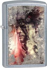 Zippo Native American Indian Chief With Headress Street Chrome Lighter 28868 NEW
