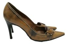 DUNE Shoes Size 7 Court Shoes w/Buckle Light Brown & Black Designer Pointed