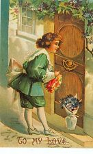 """CHRISTMAS GREETING HERITAGE  """"TO MY LOVE"""" ON POSTCARD REPRODUCTION (X-62)"""