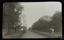 Glass Magic lantern slide HONOLULU STREET NO2 C1890 HAWAII USA NATIVE HAWAIIAN