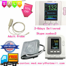 US CONTEC08A Digital Color LCD Blood Pressure Monitor NIBP+SPO2 Probe USB SW FDA