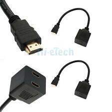 2X HDMI Male To 2 HDMI Female Y Splitter Adapter Cable Cord Durable New