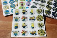 MINIONS DESPICABLE ME Epoxy Sticker 1 inch round 4 Bottle Cap Magnet Craft Proje