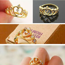 2pcs Fashion Women Girl Gold Plated Crystal Rhinestone Crown Ring Jewelry Gift