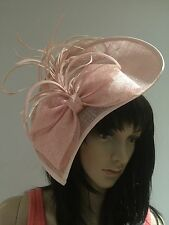 PINK  TEARDROP FASCINATOR WEDDING HAT DISC MOTHER OF THE BRIDE FORMAL OCCASION