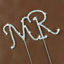 Diamante Rhinestone Gem Cake Pick Topper Birthdays Anniversary Silver Letters MR