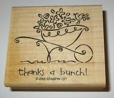Thanks A Bunch Rubber Stamp Wheelbarrow Flowers Bird Stampin' Up! New