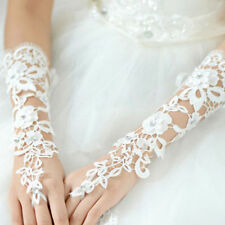 NEW WHITE  ELBOW  Tulle Lace Wedding Prom dress Bridal Gloves  STOCK  FINGERLESS