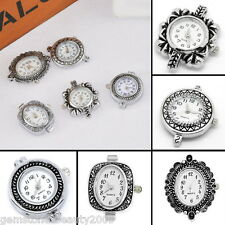 GB 1Set 5pcs Mixed Fashion Quartz Watch Face Silver Plated For Beading